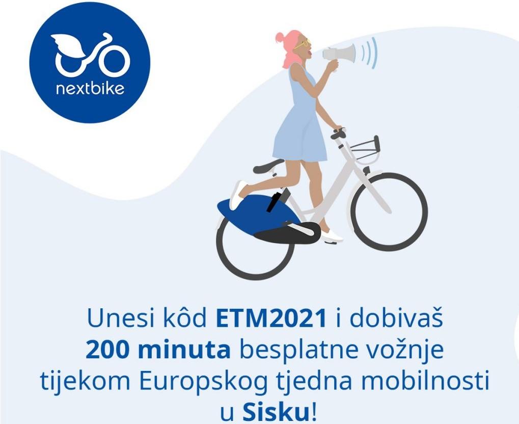 Grad Sisak i Nextbike daruju 200 minuta besplatnog korištenja bicikala povodom Europskog tjedna mobilnosti